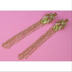 Green rhinestone gold tassel earrings